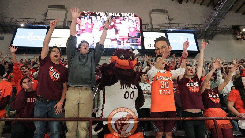 The Hokiebird joins the students in the front row for a few minutes of the action. (Mark Umansky/TheKeyPlay.com)