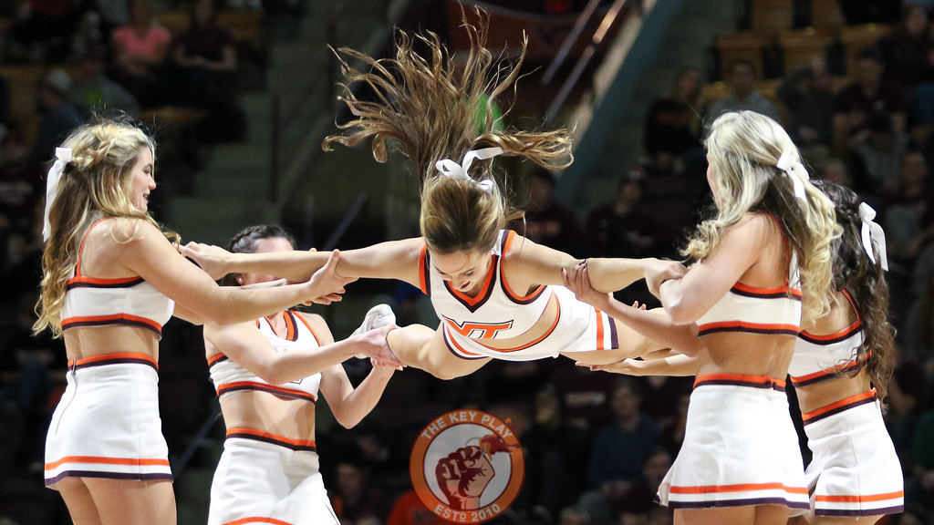 The Virginia Tech Cheerleaders perform for the crowd during a TV timeout. (Mark Umansky/TheKeyPlay.com)