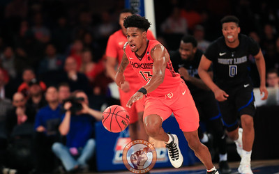 Virginia Tech's guard Ahmed Hill (13) dribbles up court against St. Louis in Madison Square Garde, Nov. 16, 2017. St. Louis upset Virginia Tech with a 77-71 win.