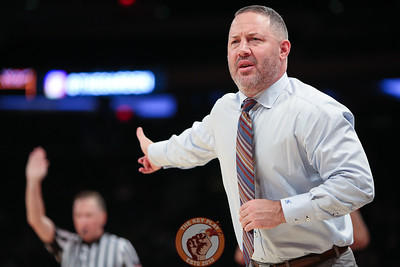 Virginia Tech head coach Buzz Williams reacts during play against St. Louis in Madison Square Garde, Nov. 16, 2017. St. Louis upset Virginia Tech with a 77-71 win.