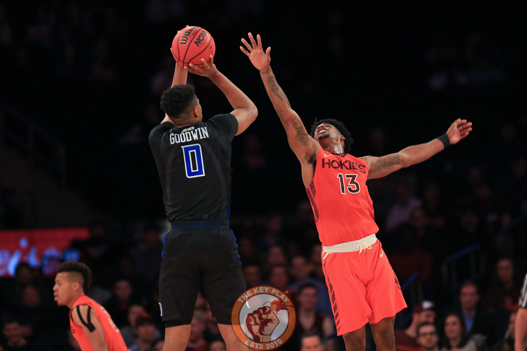 Virginia Tech's guard Ahmed Hill (13) defends a shot from St. Louis' guard Jordan Goodwin (0) in Madison Square Garde, Nov. 16, 2017. St. Louis upset Virginia Tech with a 77-71 win.