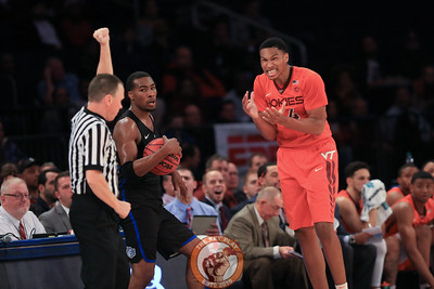 Virginia Tech's forward Kerry Blackshear Jr. (24) reacts during play agains St. Louis in Madison Square Garde, Nov. 16, 2017. St. Louis upset Virginia Tech with a 77-71 win.