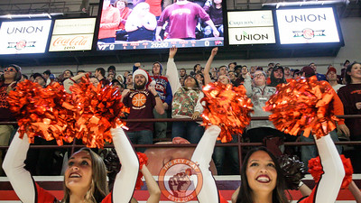 The Virginia Tech student section and spirit squads jump to Enter Sandman right before tipoff. (Mark Umansky/TheKeyPlay.com)