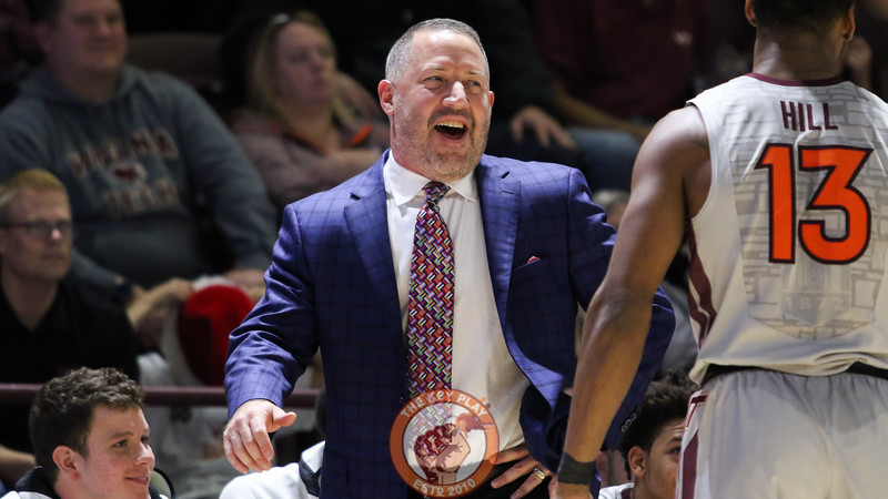 Head coach Buzz Williams shares a laugh with his players during a stoppage in the game. (Mark Umansky/TheKeyPlay.com)