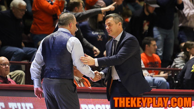 Head coaches Buzz Williams and Tony Bennett shake hands after the final buzzer. The Hokies lost to UVa by a score of 78-52. (Mark Umansky/TheKeyPlay.com)