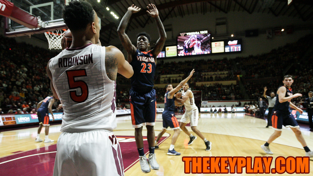 Justin Robinson looks to inbound the ball underneath the UVa basket. (Mark Umansky/TheKeyPlay.com)