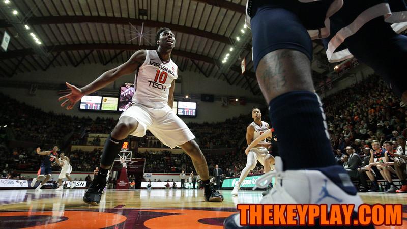 Justin Bibbs guards a UVa inbounds pass as the Hokies set up a press defense. (Mark Umansky/TheKeyPlay.com)