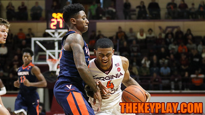 Nickeil Alexander-Walker can't get through a defender on a drive to the basket. (Mark Umansky/TheKeyPlay.com)