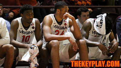 The Hokies bench reacts as UVa extends their lead in the second half. (Mark Umansky/TheKeyPlay.com)