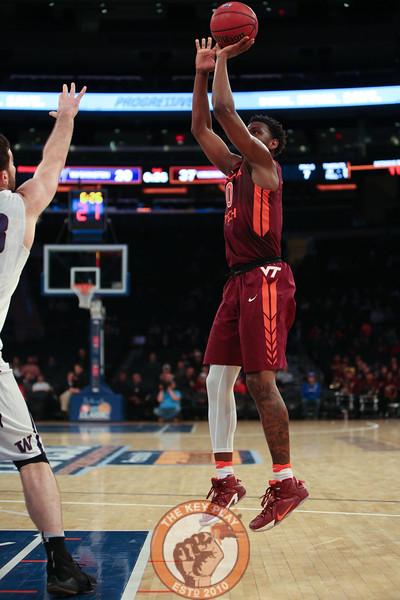 Virginia Tech's guard Justin Bibbs (10) shoots during play against Washington in Madison Square Garden, Nov. 17, 2017. Virginia Tech won the game 103-79.
