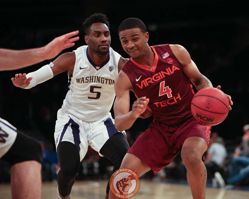 Virginia Tech's guard Nickeil Alexander-Walker (4) handles the ball as Washington's guard Jaylen Nowell (5) defends in Madison Square Garden, Nov. 17, 2017. Virginia Tech won the game 103-79.