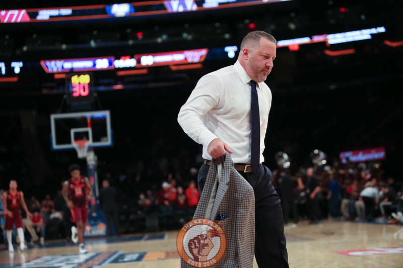 Virginia Tech head coach Buzz Williams walks off the court in Madison Square Garden, Nov. 17, 2017. Virginia Tech won the game 103-79.