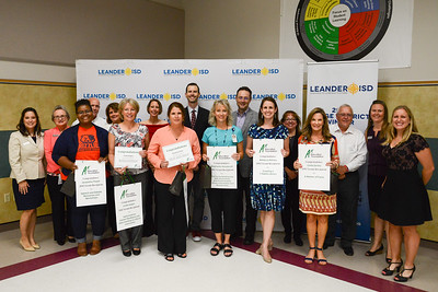At the Leander ISD Board Meeting Sept. 21, 2017, the seven educators in Leander ISD to be awarded grants from the A+ Education Foundation were recognized by the Board: Linda Hagen, Cedar Park Middle School; Stephanie Honeycutt, Block House Creek Elementary School; Rebecca Rainer, Steiner Ranch Elementary School; Deena Rosiles, Rutledge Elementary School; Roxanna Soto, Bagdad Elementary School; Jacquetta Thayer, Glenn High School; and Linda Zarsky, Winkley Elementary.