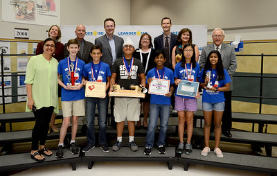 "Canyon Ridge Middle School DI Team 2, ""The Mythical 6,"" recognized for finishing 5th out of 86 teams in the Technical Maze Craze MS Level at the Global Destination Imagination Competition. Team members include Karen Li, Sahib Chadha, Akshay Boddapu, Shriya Ganesan, Ty Huey and Colin Kennedy. Team managers include Mandeep Chadha and Moninder Chadha."