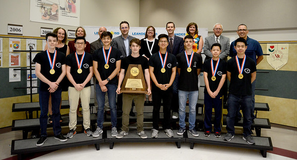 Vista Ridge High School's 7797 Victorian Voltage robotics team, recognized for winning first place at the UIL FTC state championship.