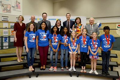 "Canyon Ridge Middle DI Team 5, ""Tick Tock Tigers,"" recognized for finishing 4th out of 74 teams in Project Outreach Inside Impact at the Global Destination Imagination Competition. Team members include Brooke Avery Boykin, Ryann Lynn Wager, Aarushi Boppidi, Anya Chawla, Nehashri Natarajan, Gauri Suresh and Advaith Suresh. Team managers include Aradhana Suresh and Angela Boykin."