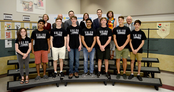 Vandegrift High School's 6800 Valor robotics team, recognized for advancing to the FIRST Robotics World competition.
