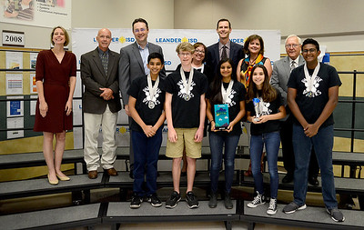 "Vandegrift High School DI Team 2, ""The Pawsitive Vipers,"" recognized for finishing 2nd out of 66 teams in Project Outreach Inside Impact HS Level at the Global Destination Imagination Competition. Team members include Lekha Sripathi, Jack Emmerich, Pranav Jose, Samuel Weiss, Camille Forster and Vamshi Pothireddy. Team managers include Keni Renner and Ani Jose."