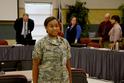 Cadet 2nd Lt. Cheyenne Walker, Leander High School's Air Force JROTC, led the pledge of allegiance at the May 17 Board meeting.