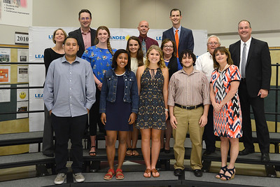 Student leaders from the district's six high schools joined the Leander ISD Board of Trustees at the May 17 meeting. These leaders included Raul Lopez, Glenn High School student body president; Dominique Mobley, Vandegrift High School senior class president; Emma Aldred, Leander High School student council president; Yazan Al-Sukhni, Vista Ridge High School student body president; Brooke Templeton, Rouse High School student body president; and Addison Leavitt, Cedar Park High School student body president.