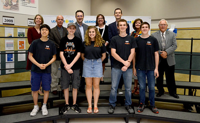 Vandegrift High School's 11503 Hyperfang robotics team, recognized for advancing to the FIRST Robotics World competition.