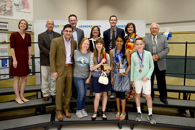 "Canyon Ridge Middle School DI Team 1, ""BeeClever.org,"" recognized for finishing 10th out of 74 teams in Project Outreach Inside Impact at the Global Destination Imagination Competition. Team members include Haley Judd, Xavier Leffler, Jeffrey Gunawan, Samu Jayaprakash, Rachel Reynolds and Tate Stephens. Team managers include Jacob Leffler and Janae Leffler."