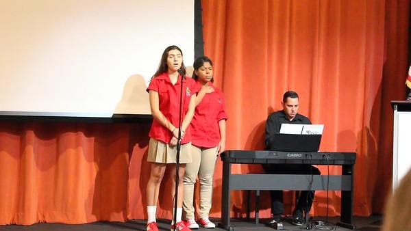 Alessandra Casanova, class of 2018, sings the Puerto Rico National Anthem