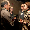 Cindy Chew<br /> 2/15/18<br /> Rebecca Upham, Head of School at BB&N, speaks John Toupin, Class of '81, left, and Rob Gaily, Class of '81, center, at the annual BB&N San Francisco alumni event.