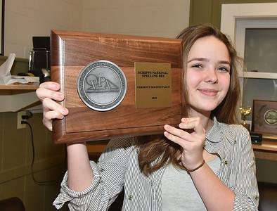 Congratulations Emma H. Vermont Scripp's Spelling Bee Runnerup photos by Gary Baker