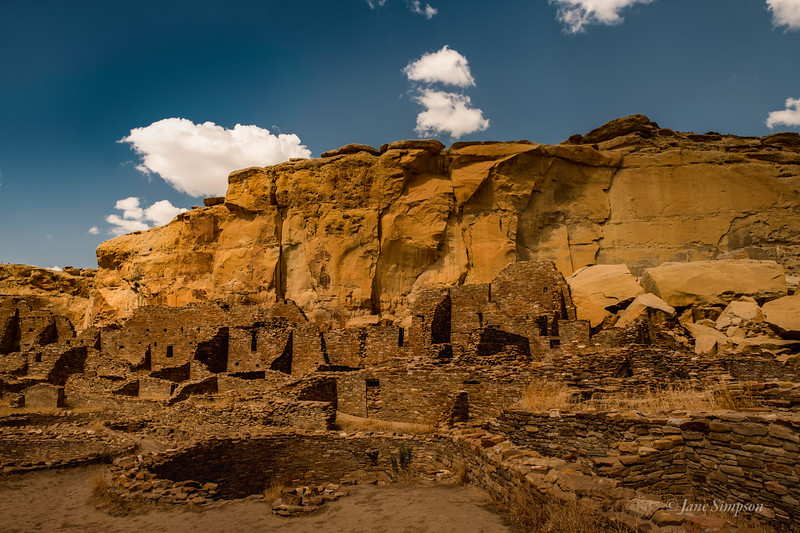 Pueblo Bonito: several stories remain buried beneath dirt; purposely destroyed or just naturally buried.