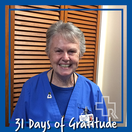 """I am thankful for my good health, especially after helping the dialysis patients who have to come for treatment three times a week."" – Mary Taggart, Volunteer Services"