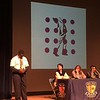 """On March 24, 2017, the 7th grade students participated in our first annual Poetry Slam Competition. The 7th grade English teachers decided to enhance our poetry unit by encouraging all of the students to write original pieces. Some worked individually and others in groups. The students then voted on the poet(s) who would represent their class in the competition which was held in the Roca Theater.<br /> <br /> The winners were as follows: <br /> 3rd place-Manuel Dominguez """"Man Vs. Nature"""", <br /> 2nd place- Daniel Marsh """"Brown""""<br /> 1st place- Ian Johnson """"Slavery: A Slave's Perspective""""<br /> <br /> The artwork which you will see displayed in the background in the pictures was provided by senior Carlos Machado."""