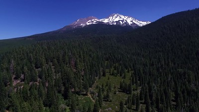 1-Drone portrait of Mt Shasta