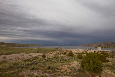 Pathfinder Dam and lake on rainy day-IMG_8641