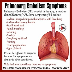 APS Awareness Month ~ Day 21: Today we bring you information about Pulmonary Embolism or PE. As #APS patients, you are at risk for , and #PE is a type of #clot so it's important to know the symptoms. Have you had a PE before? Care to share? Please do so in the comments below...and also, please don't forget to share this graphic on ALL social media sites with the hashtags #GOBURGUNDY and #APSAWARENESS #VTE — supporting APS Foundation of America, Inc.