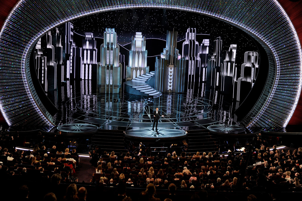 . Host Jimmy Kimmel speaks at the Oscars on Sunday, Feb. 26, 2017, at the Dolby Theatre in Los Angeles. (Photo by Chris Pizzello/Invision/AP)