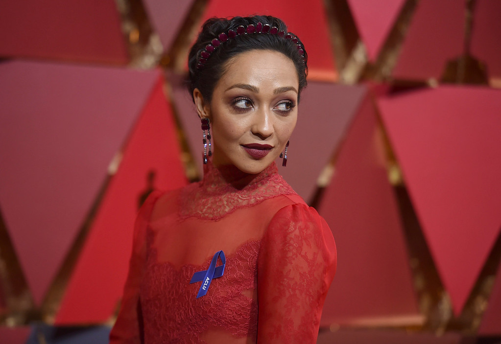. Ruth Negga arrives at the Oscars on Sunday, Feb. 26, 2017, at the Dolby Theatre in Los Angeles. (Photo by Richard Shotwell/Invision/AP)