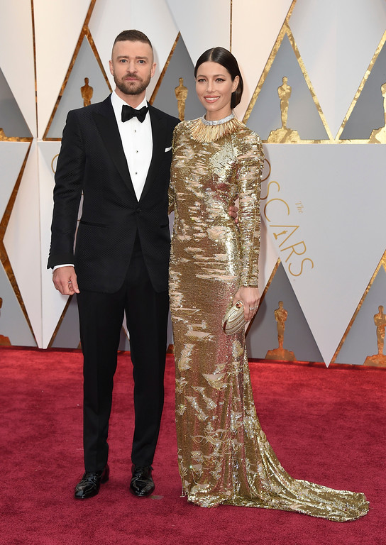 . Justin Timberlake, left, and Jessica Biel arrive at the Oscars on Sunday, Feb. 26, 2017, at the Dolby Theatre in Los Angeles. (Photo by Jordan Strauss/Invision/AP)