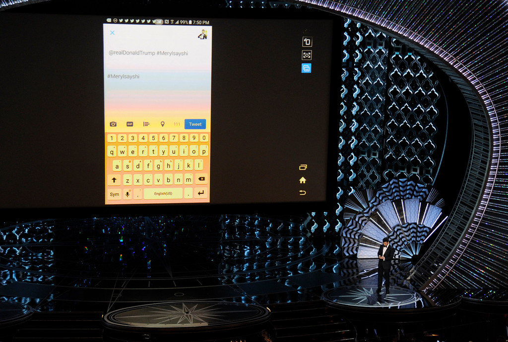 . Host Jimmy Kimmel tweets President Donald Trump #Merylsayshi during the Oscars on Sunday, Feb. 26, 2017, at the Dolby Theatre in Los Angeles. (Photo by Chris Pizzello/Invision/AP)