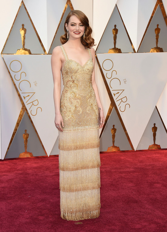 . Emma Stone arrives at the Oscars on Sunday, Feb. 26, 2017, at the Dolby Theatre in Los Angeles. (Photo by Jordan Strauss/Invision/AP)