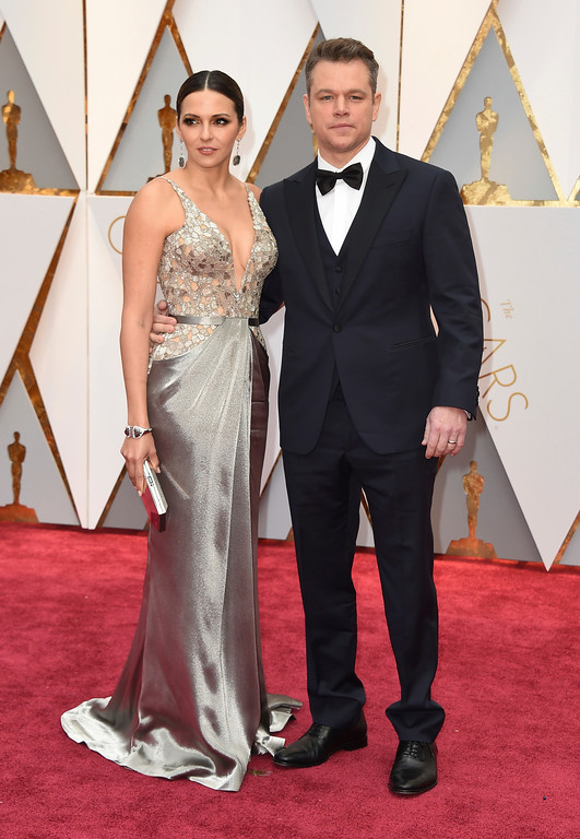 . Luciana Barroso, left, and Matt Damon arrive at the Oscars on Sunday, Feb. 26, 2017, at the Dolby Theatre in Los Angeles. (Photo by Jordan Strauss/Invision/AP)
