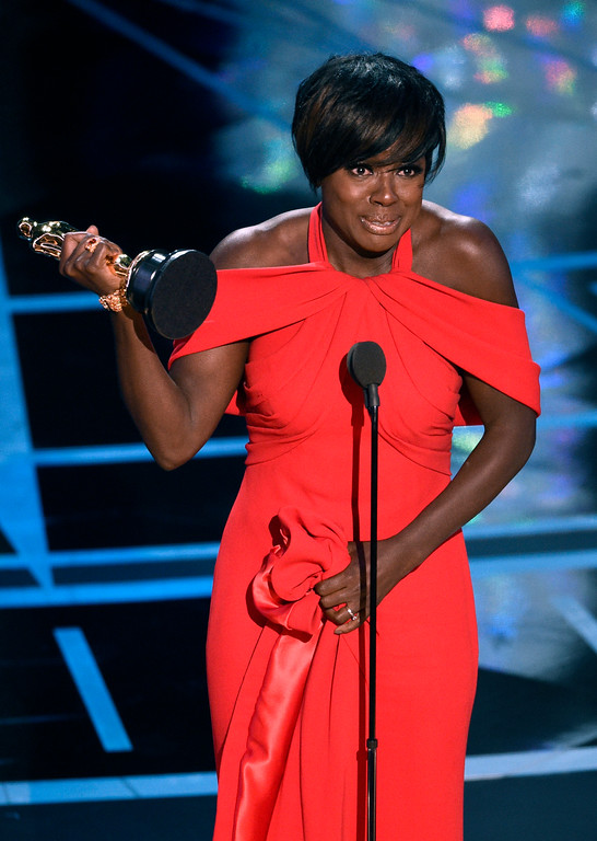 """. Viola Davis accepts the award for best actress in a supporting role for \""""Fences\"""" at the Oscars on Sunday, Feb. 26, 2017, at the Dolby Theatre in Los Angeles. (Photo by Chris Pizzello/Invision/AP)"""