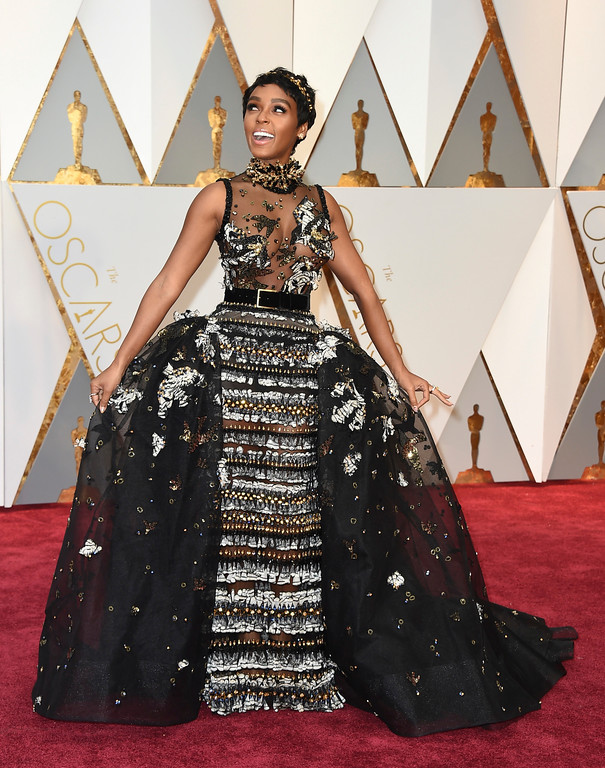 . Janelle Monae arrives at the Oscars on Sunday, Feb. 26, 2017, at the Dolby Theatre in Los Angeles. (Photo by Jordan Strauss/Invision/AP)