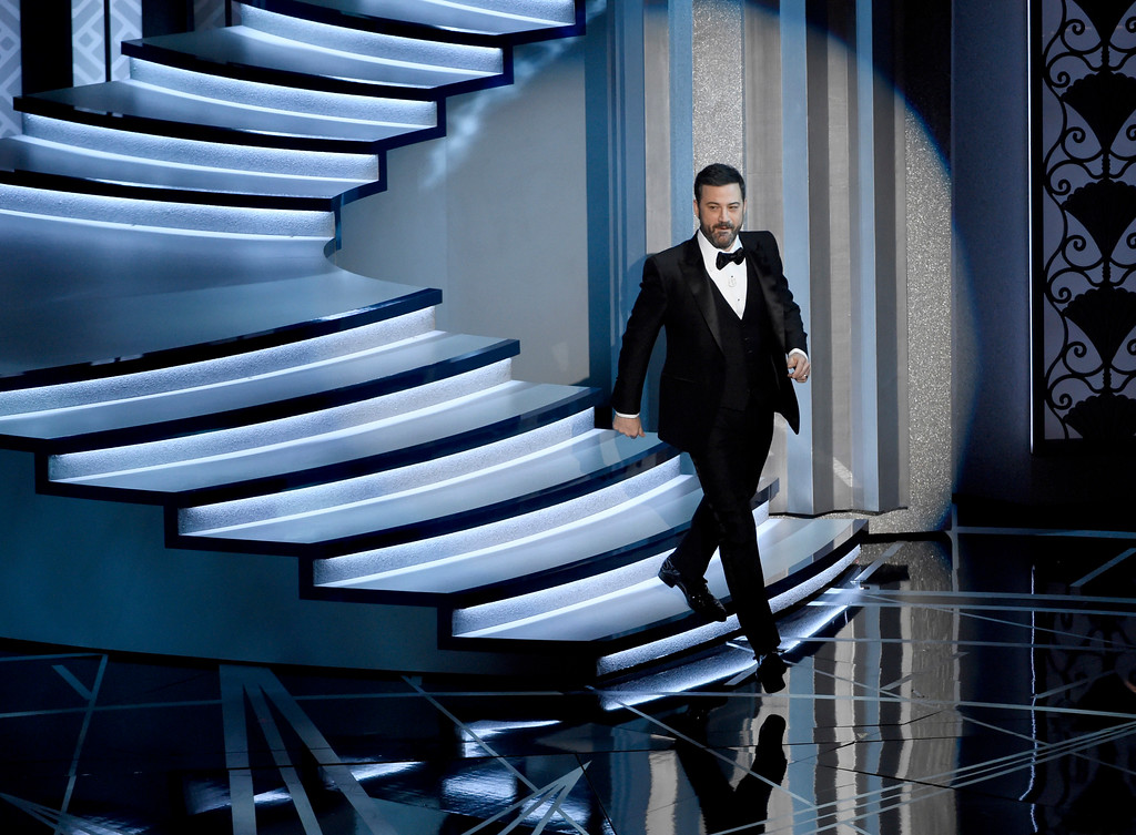 . Host Jimmy Kimmel walks on stage at the Oscars on Sunday, Feb. 26, 2017, at the Dolby Theatre in Los Angeles. (Photo by Chris Pizzello/Invision/AP)