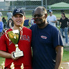 STAN HUDY - SHUDY@DIGITALFIRSTMEDIA.COM<br /> Saratoga Little League majors champion Jeff Babcock (left) poses with the inagural Adirondack Cup with league president Derrick Legall after defeating Glens Falls majors champs Warren Tire Saturday night at West Side Recreatioanl Fields.
