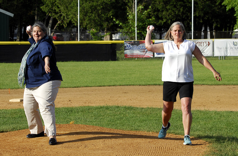 STAN HUDY - SHUDY@DIGITALFIRSTMEDIA.COM<br /> New York State Assemblywoman Carrie Woerner and Saratoga Springs deputy mayor Meg Kelly throw out ceremonial first pitches Saturday prior to the Adirondack Cup Majors contest between PBA and Warren Tire at West Side Recreational Park.