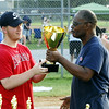 STAN HUDY - SHUDY@DIGITALFIRSTMEDIA.COM<br /> Saratoga Little League president Derrick Legall presents PBA Coach Jeff Babcock with the Adirondack Cup trophy.