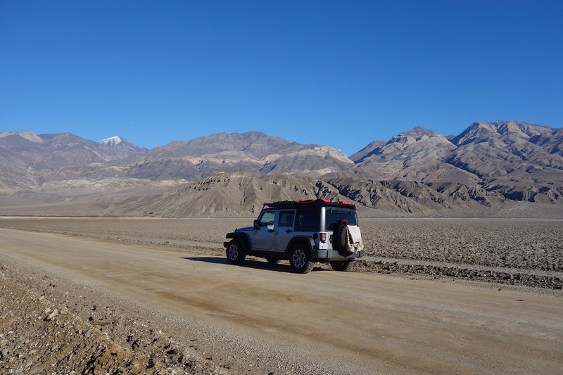 On the road to Ballarat ghost town with the Panamint Range in the background