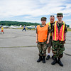 Left to right; Genesis Marquez, 15,  Joseph Zwirblia, and Francis DeRosa, 15, of the Worcester Civil Air Patrol Cadet Squadron pose for a photo during the Fitchburg Airport Aero Fair hosted by the Fitchburg Pilots Association at the Fitchburg Municipal Airport on Sunday June 11, 2017.  The Civil Air Patrol assist in parking and airport control during the event.  SENTINEL & ENTERPRISE/JEFF PORTER