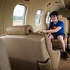 Sam Burak, 12, of Winchendon, sit's passenger in an expensive french turbo prop airplane on display during the Fitchburg Airport Aero Fair hosted by the Fitchburg Pilots Association at the Fitchburg Municipal Airport on Sunday June 11, 2017.  SENTINEL & ENTERPRISE/JEFF PORTER